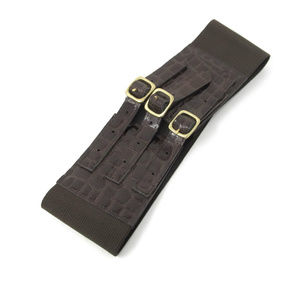Bebe Brown Wide Stretch Belt Patent Buckles Sz S